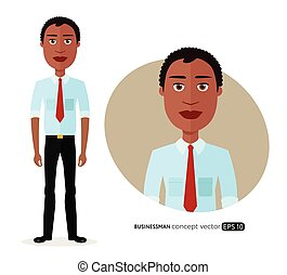 Beautiful African American business man with natural curly hair flat cartoon vector illustration isolated on white