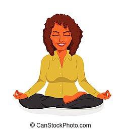 beautiful african american businesswoman relaxing happy in yoga lotus pose