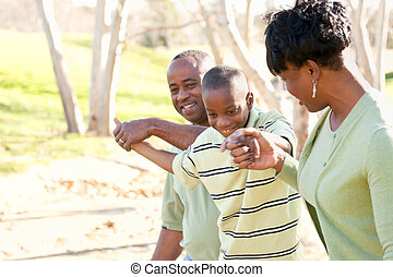 Beautiful African American Family Playing Outside