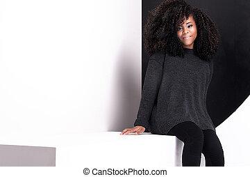 Beautiful african american girl posing.