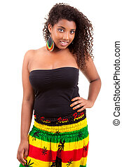 Beautiful african american teenage girl isolated on white background