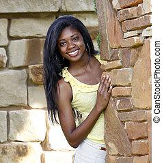 Beautiful African-American teenage
