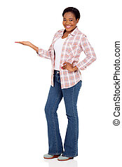 african american woman doing welcome gesture