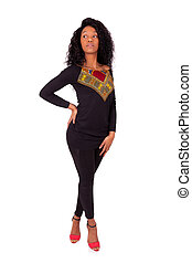 Beautiful African American woman fashion portrait