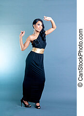 Beautiful African American Woman in black dress