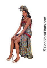 Beautiful African American woman in dress.
