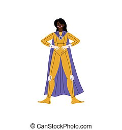 Beautiful African American Woman in Superhero Costume and Cape, Super Girl Character Vector Illustration