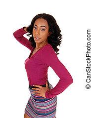 Beautiful african american woman standing.
