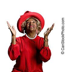 Beautiful African-American woman worshiping - Beautiful...