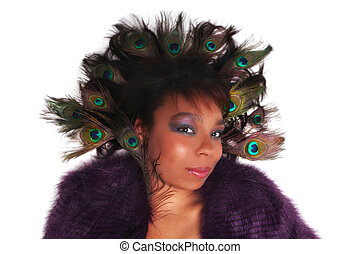 African American woman with Peacock feathers in her hair