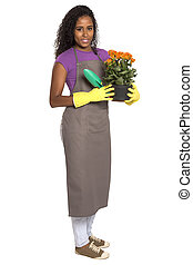 Beautiful African girl gardener with flower isolated on white background