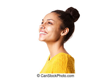 Beautiful african lady looking away and smiling