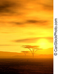 beautiful african sunset - upright format