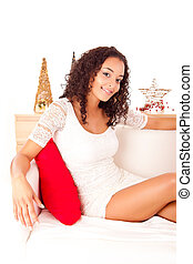 Beautiful african woman - Christmas concept