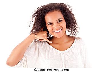 Beautiful african woman doing call sign