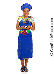 african woman holding smart phone