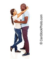 african woman hugging her boyfriend