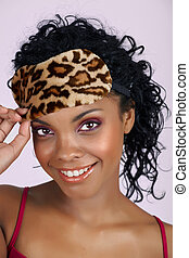 Beautiful African woman in sleeping mask