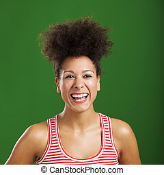 African woman laughing