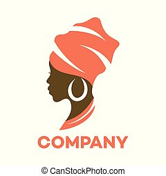 Beautiful African woman logo