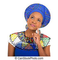 african woman looking up