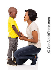 african woman talking to her son