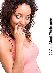 Beautiful african woman thinking