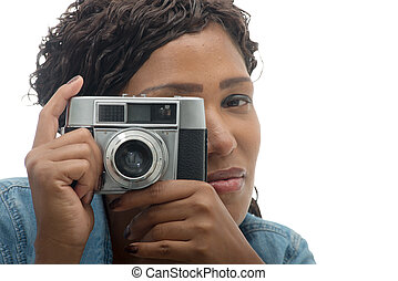 beautiful African woman with a camera