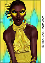 Beautiful African Woman, Yellow Dre