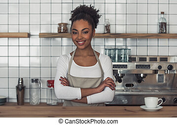 Afro American barista