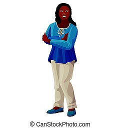 Beautiful afro-american woman in blue blouse and white trousers