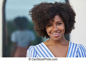 Beautiful afro american woman smiling