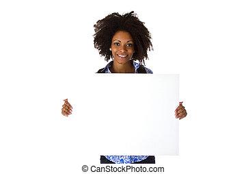 Beautiful afro american Woman  with blank whiteboard