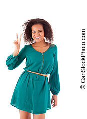 Beautiful afro woman doing peace signal
