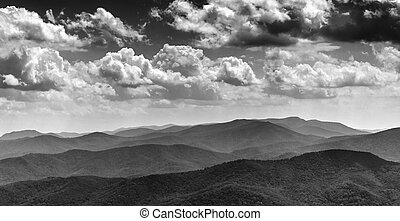 Beautiful afternoon sky over the Blue Ridge Mountains, from North Marshall in Shenandoah National Park, Virginia.