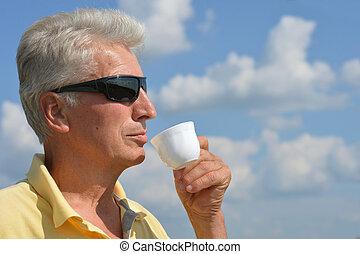 Beautiful aged man in nature - Beautiful Caucasian aged man ...