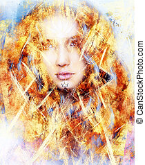 beautiful airbrush painting of an enchanting woman face with structure colour background, fire effect