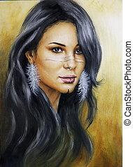 beautiful airbrush portrait of a young enchanting woman face
