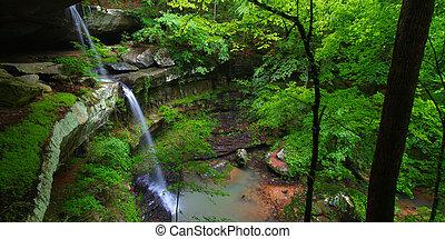 Beautiful Alabama Scenery - Beautiful waterfall flows into a...