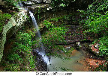 Beautiful Alabama Scenery - Waterfall flows into a deep...