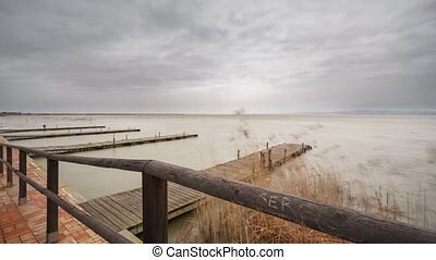 Beautiful Albufera pier sliding camera time lapse, Valencia....