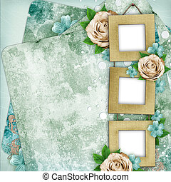 Beautiful album page in scrapbook style with frames for photo, rose (1 of set)
