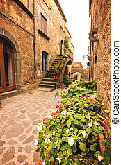 Beautiful alley in Civita di Bagnoregio, Lazio, Italy