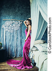 Beautiful Alluring Woman Brunette in Gorgeous Dress