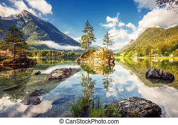 beautiful alpine lake - View on turquoise water and scene of...