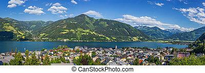 Beautiful alpine mountain landscape with famous village Zell am See, Austria