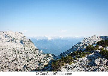 Beautiful alpine scenery: view from the mountain top