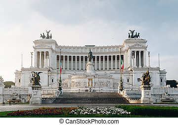 Beautiful Altar Of The Fatherland (Altare della Patria, known as the national Monument to Victor Emmanuel II or II Vittoriano ) at sunset. Famous Roman landmark. Piazza Venezia. Rome. Italy. Europe.