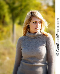 Blonde Model Outside