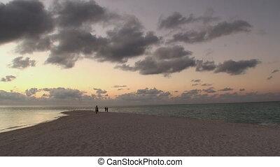 Beautiful amazing golden sunset at tropical beach.